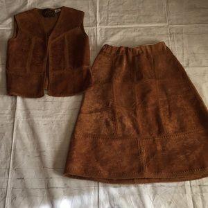 Vintage Altman of Dallas  suede leather skirt set